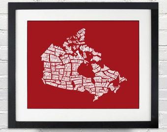 Canada Word Map - A Typographic Word Map of Canadian Cities, Travel Map, Typography Stencil Art, Custom Gift, Home Decor, Canvas Print