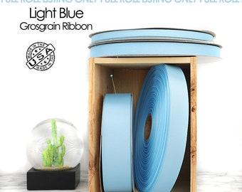 Light Blue Grosgrain Ribbon Full Roll - 4 widths - Berwick Offray blue ribbon - USA made blue grosgrain -  (312) baby blue light blue ribbon