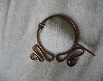 Pennular Circle, Copper Pin, Penannular, Brooch, Fibula, Scarf Pin, Shawl Pin, Celtic Pin Closure