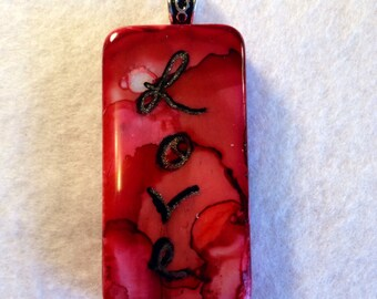 Pendant Red Love Alcohol Ink Domino AIArt