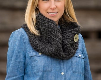 Chunky Button Cowl Scarf - Charcoal Grey or Black