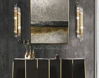 Original Abstract Oil Painting Texture Painting Modern Art Gold Panting Silver PaintingbWall Decor Large Wall Art On Canvas by Julia Kotenko