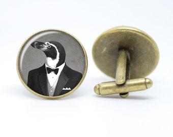 Penguin in a Tuxedo Cufflinks Dapper Animal Vintage Inspired Handmade Men's Bronze or Silver Plated Cufflinks 16mm or 20mm Gifts For Him