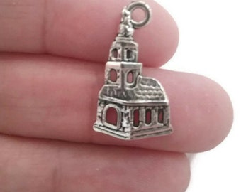 10 Church Charm Pendant Antique Silver Tone, Chapel Charm, Religious Charm, Building Charm, Christian Charm, USA Seller, 22x14mm, C378