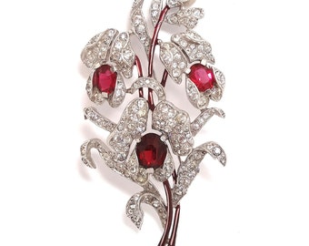 Crown Trifari 1941 Alfred Spaney Triple Ruby Red Floral Spray Brooch - Floral Brooch - Trifari Brooch - Vintage Jewelry - Sterling Pin