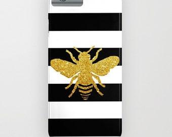 Abeilles sur doré imprimé housse de portable - printemps, abeille, iPhone 6 iPhone 6 Plus, or pailleté effet, iPhone 8