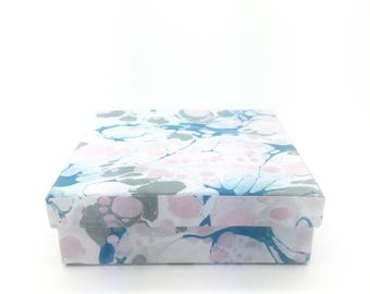 Fresh blue, pink and grey hand marbled paper box with crisp blue and grey lining