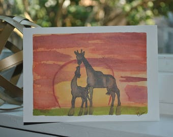 Beautiful {blank} greeting cards made by 8 year old artist:  Sunset Giraffe