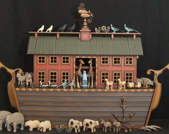 Heirloom Ark, Hand Carved Wooden Noah's Ark, Wooden Noahs Ark, Noahs Ark Animals, Wood Noah's Ark