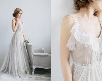 A-line floaty wedding dress ROMI with long train by RARA AVIS • Boho wedding dress •