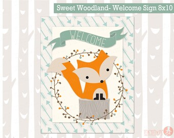 Sweet Woodland Baby Shower Welcome Sign Instant Download | Forest Friends Baby Shower | Woodland Animals