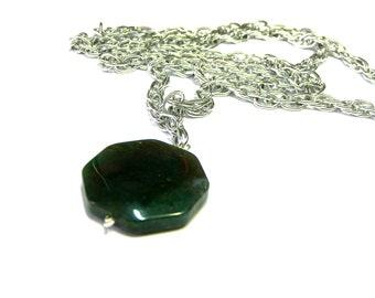 Mook Jasper Pendant, Chain Necklace, single pendant, jasper, bloodstone, mookaite, green pendant, teal pendant, Heliotrope pendant
