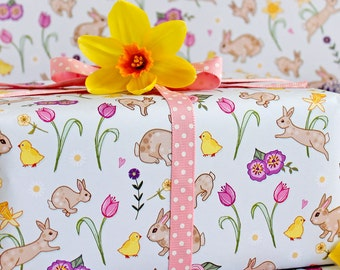 Easter gift wrap etsy spring gift wrap 2 pack gift wrapping paper easter gift wrapping wrapping paper negle Images