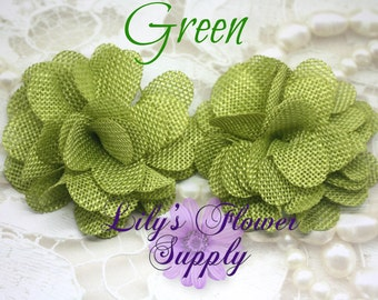 Burlap Flowers - Green - Burlap Flower - 3 Inches - Fabric Flower - Burlap Rose - Rolled flowers - Wholesale - supply