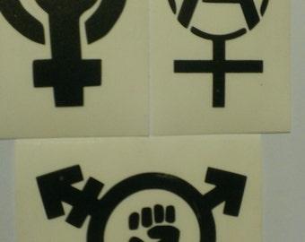 3 Decal set : Assorted Feminism Decals. Feminism, Trans-Feminism, & Anarcha Feminist Vinyl Decals