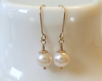 Pearl Drop Dangle Earrings, Pearl Dangle Earrings, Pearl and Gold filled, Pearl Earrings, Freshwater Pearl Drop Dangle  Earrings, Pearl Drop
