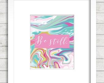 Psalm 46, Be still, Scripture Poster. Bible Verse. Christian, Gift, Bible wall decoration, Bible art,  blue print