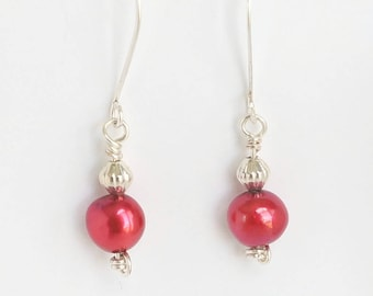 Red Pearl Earrings | Freshwater Pearl Earrings | Silver Pearl Earrings | Red Pearl Dangles | Pearl Drop Earrings | Red Freshwater Pearls