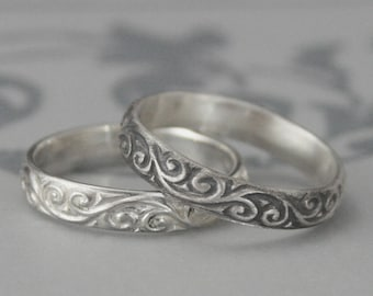 Silver Wedding Band--Patterned Silver Ring--Women's Wedding Band--Flourish le Femme Wedding Band--Solid Sterling Silver Swirl Patterned Ring