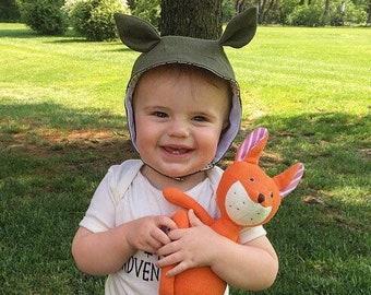 Fox Sunbonnet - Linen Bonnet - Short Brim Bonnet - Brimmed Bonnet - Sunbonnet for Toddler - Sun Hat for Baby - Fox Bonnet