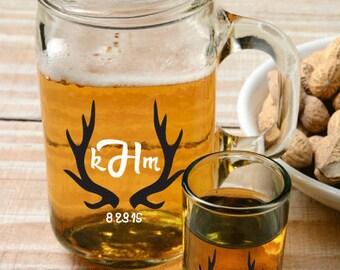 Personalized Mason Jar Labels, Wedding Stickers, Deer Antler Personalized, Deer Antler Stickers, Antler Monogram Stickers