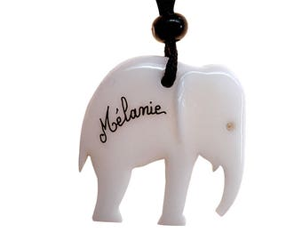 Personalized elephant jewelry handmade name necklace