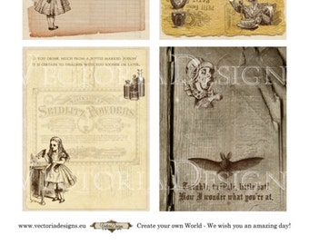Alice in Wonderland mini papers 3.5 x 4.5 inch printable hobby crafting digital graphics instant download digital collage sheet VD0690