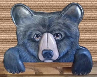 Black Bear - Window or Door Topper - Hand Carved - Hand Painted by Will Kay Studios