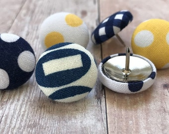 Small Gift,Pushpins,6 Push Pins,Thumbtacks,Thumb Tacks,Yellow,Blue,Navy Blue,Navy,White,Gingham,Bulletin Board,Gift,Decorative,Cubicle