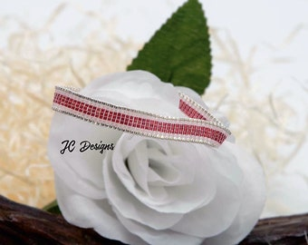 Cranberry Luster Miyuki Delica Loom Bracelet