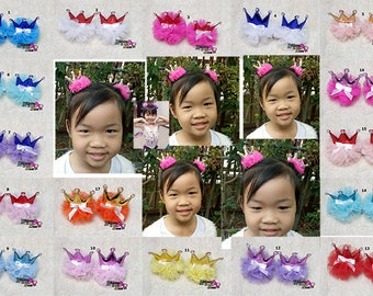pair of girls hair bows crown hair clips with 17 color