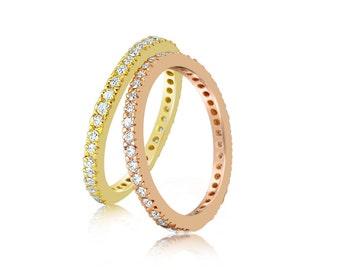 Eternity Band - Skinny Diamond Band - Full Eternity Ring - Diamond Band - Natural VS F Diamond 18K Gold Eternity Band Wedding Ring 14K Gold
