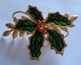 Vintage Unsigned Goldtone Holly with Berries Bauble Brooch/Pin