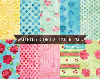 Watercolor Digital Paper, Shabby Chic Digital Papers, Flower Digital Scrapbook Backgrounds