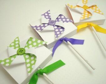 Polka Dot Pinwheel sucette favorise, vous choisissez la couleur, ensemble de dix