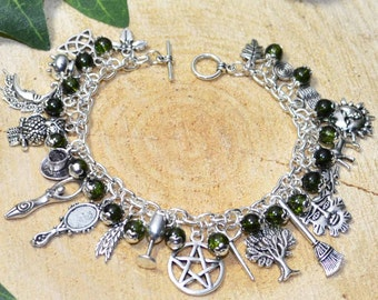 Witches Charm Bracelet - Verdant Earth - Handmade Pagan Jewellery for Wicca, Witch