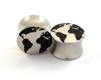 "Globe 316L Surgical Steel Plugs - Double Flared - 2g 0g 00g 7/16"" (11 mm) 1/2"" (13mm) 9/16"" (14mm) 5/8"" (16mm) Earth World Metal Ear Gauges"