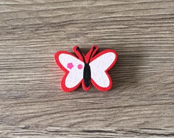 Red Butterfly - shaped wooden bead