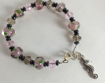 Pink glass rose bracelet