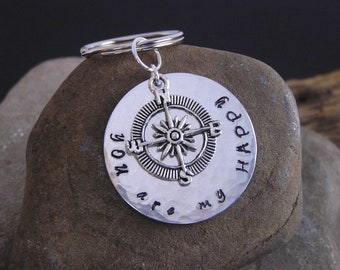 Hammered Metal Compass Keychain Key Ring You are My Happy