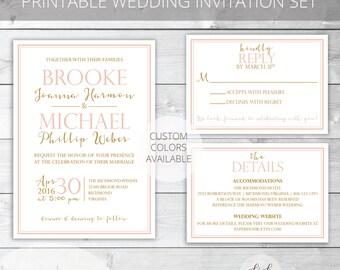 Blush/Gold Printable Wedding Invitation Set | Classic | Brooke Collection | RSVP & Details/Enclosure Card | Custom Colors Available