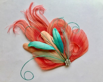 JANELLE -  Coral, Aqua, Turquoise, and Pink Peacock Feather Hair Clip