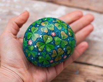 Shamrocks meadow, Hand painted stone, painted rock, Shamrocks, Irish gift, Ireland, St. Patrick's day gift