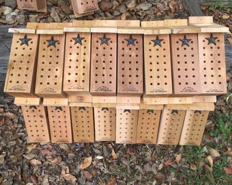 Mason Bee House - Wester Red Cedar - great pollinators