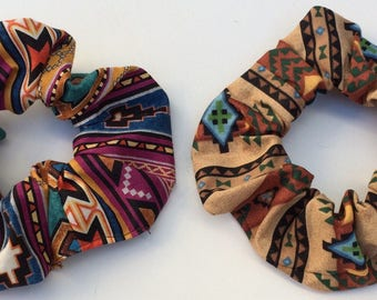 2 Hair Scrunchies, Set Lot, African Tribal Southwest Indian Mexican Boho Aztec, Scrunchys Ponytail Pony Tail Holders Covers Cotton Pack