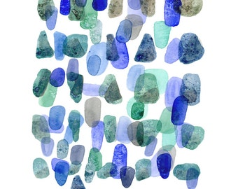 Watercolor art Sea Rocks Watercolor painting blue green watercolor print Abstract painting  blue nautical style