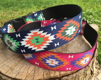 Colorful Tribal Dog Collars - Pink Tribal Dog Collar - Wide Dog Collar - Blue Tribal Dog Collar - Aztec Dog Collars