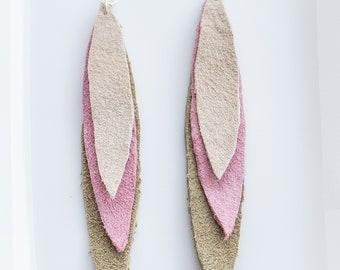 Long Leaf Layered Earrings