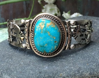 """A fantastic sterling and turquoise cuff adorned with kokopelli dancers small wrist 6 1/8"""""""