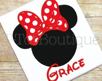 Mouse Inspired Ears and Bow Embroidered Shirt Name or Monogram Shirt or Bodysuit - Free Personalization